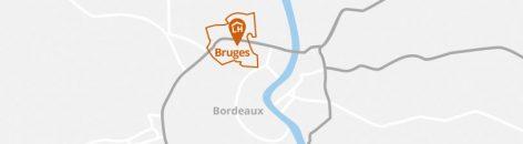Situation géographique de la commune de Bruges