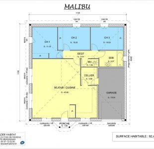 Plan intérieur du modèle de maison Malibu