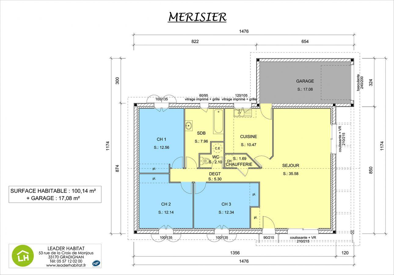 Maison de plain pied merisier leader habitat for Modele maison nobless