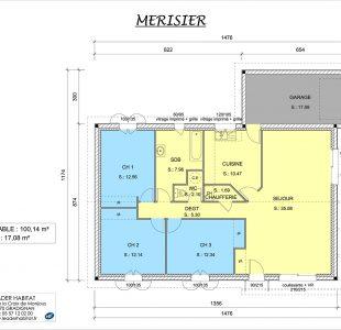 Plan du modèle de maison plain-pied Merisier