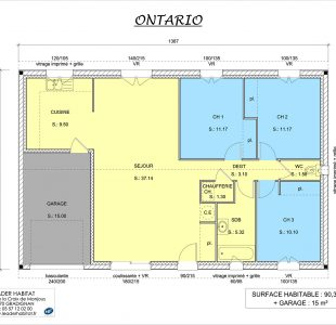Plan intérieur du modèle de maison plain-pied Ontario