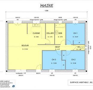 Plan intérieur de la maison Maine