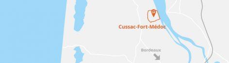 Situation géographique de la commune de Cussac-Fort-Médoc