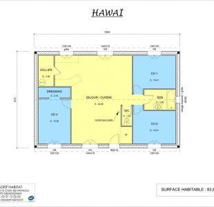 Plan intérieur du modèle de maison Hawaï version 2017