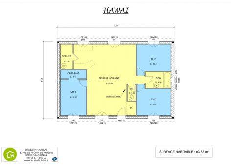 Plan intérieur de la maison Hawaï version 2017