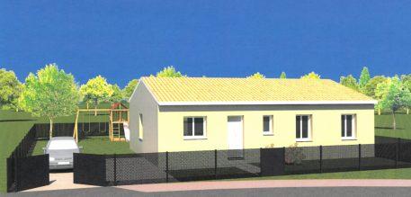 Perspective extérieure maison et terrain à Saint-Jean-d'Illac