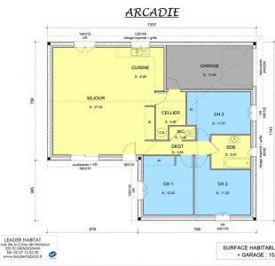 Plan intérieur du modèle de maison Arcadie