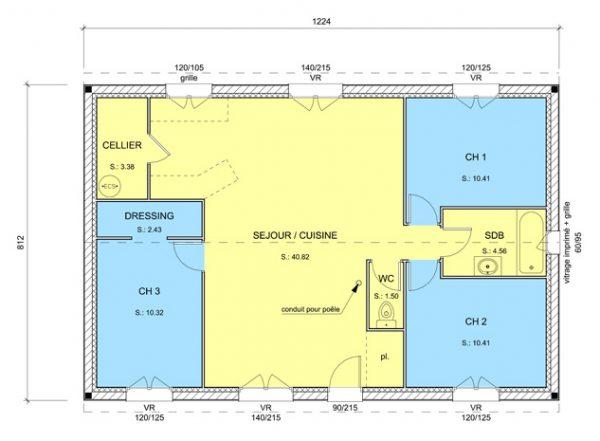 Plan intérieur du modèle de maison Hawaï (recadré)